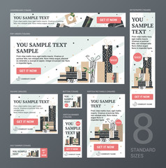 Standard web banners Set size. The design concept for selling store banners. Banners for the standard size of advertising.