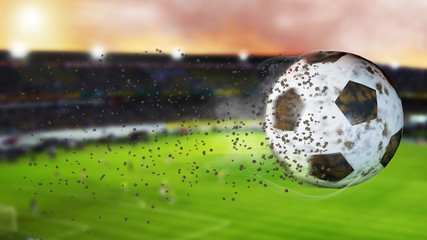 3d illustration of flying football leaving a trail of dust and smoke. Spinning dirty soccer ball, selerctive focus.