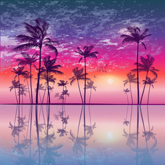 Wall Mural - Tropical palm trees  at sunset, with cloudy sky. Highly detailed and editable