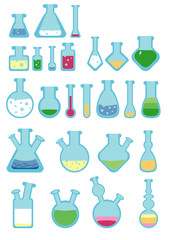 A vector set with lab flasks, and test-tubes, with liquid. Some liquids contain layers, others are with bubbles.