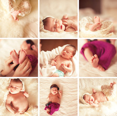 Collage of nine images with baby feet closeup, baby girl lying in bed in room. Motherhood. Maternity. Parenthood.