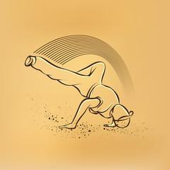 Breakdance freeze. Vector retro drawing illustration.
