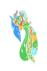 Decorative profile image of a fairy blue bird or phoenix. The stylized openwork pattern in bright saturated colors. Vector decor.
