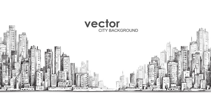 Cityscape, hand drawn vector sketch
