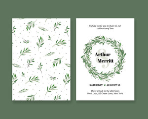 Set the invitation to the wedding with a green leaf. Flyer for the holiday with natural plants. Simple elegant illustration of a wedding.