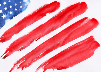 memorial day, american flag, flag USA, flag USA watercolor, flag USA hand-drawn, flag USA illustration, illustration of Fourth of July background for Happy Independence Day of America