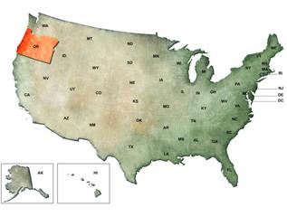 Illustrazione degli Stati Uniti d'America con focus su Oregon