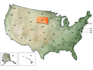 Illustrazione degli Stati Uniti d'America con focus su South Dakota