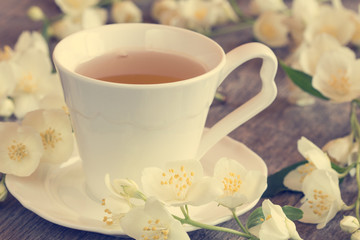 Wild flowers and cup of tea