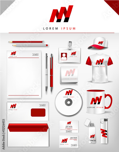 Corporate grey and red identity template realistic cup business corporate grey and red identity template realistic cup business card letterhead envelope reheart Choice Image