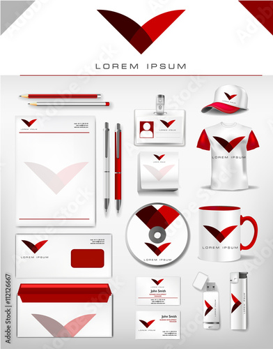 Corporate grey and dark red identity template realistic cup corporate grey and dark red identity template realistic cup business card letterhead reheart Choice Image