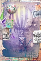 Graffiti and collage with ot air balloon and vintage stamps