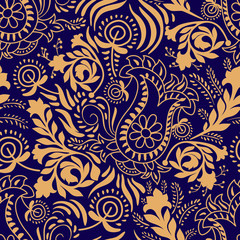 Floral seamless pattern. Paisley background in two colors