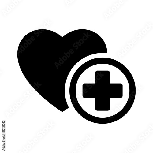 quotmedical heart plus sign icon black on white background