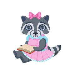 Girl Raccoon With Book