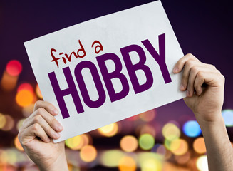Find a Hobby placard with night lights on background Wall mural