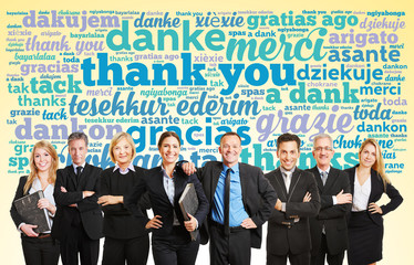 Business Team sagt Danke