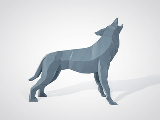 3D illustration of origami wolf howling