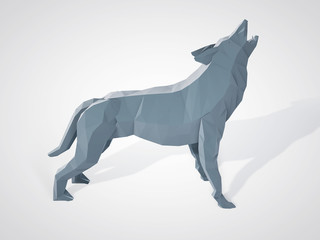 3D illustration of origami wolf howling. Polygonal wolf side view. Geometric style grey wolf. Triangle wolf.