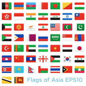 Asian countries flags. Vector icons set.