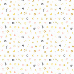 Geometric shapes seamless pattern. Gold pattern for fashion and wallpaper. Abstract vector illustration with geometric elements, shapes.