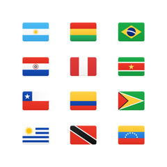 South America Continent Flags. Vector icons set.