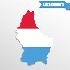 Luxembourg map with flag inside and ribbon