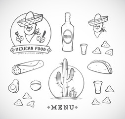 Mexican Food Vector Illustrations Set with Logo Template for Restaurant Menu, Cafe, Meal Delivery. Smiling Man in Traditional Sombrero, Tacos, Burritos, Tequila, etc.