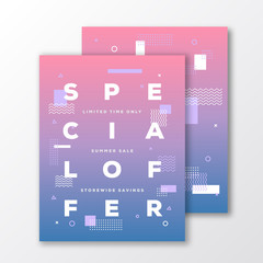 Sale Special Offer Poster, Card or Flyer Template. Modern Abstract Flat Swiss Style Background with Decorative Stripes and Creative Typography. Blue to Pink Gradient. Soft Realistic Shadows.