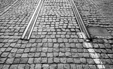 The end of tramway railroad in the city