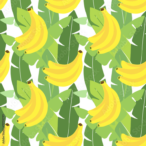 """Tropical seamless pattern. Banana leaves, banana fruit"