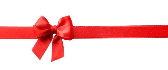 Red ribbon bow  on a white background