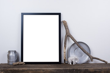Scandinavian style empty photo frame mock up. Minimal home decor