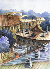 old town, watercolor, illustration