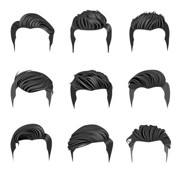 Set of Men's Hairstyles. Hipster Hair.