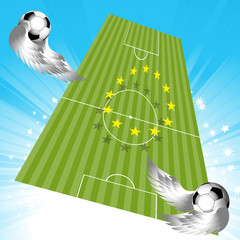 Flying football soccer pitch and balls