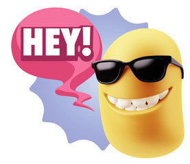 3d Illustration Laughing Character Emoji Expression saying Hey w