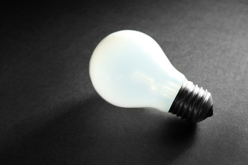 Electric bulb on grey background