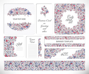 Set of creative universal floral cards.