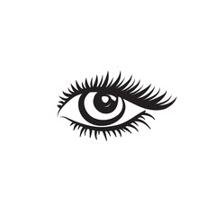 Eye logo. Vector girls eye design in minimalistic graphic style. Beauty salon Label