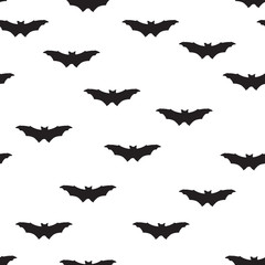 Bat silhouette seamless pattern. Holiday Halloween background.