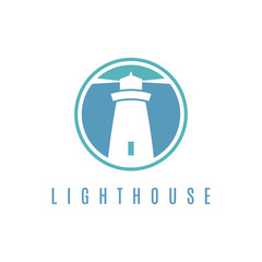 Concept logo template with lighthouse in flat design .Vector ill