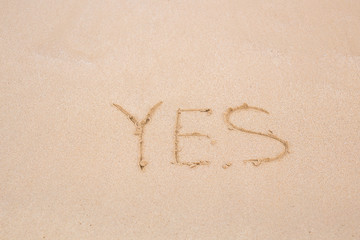 Yes - written in sand on beach texture