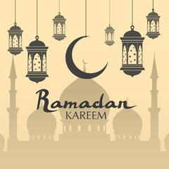 Ramadan kareem greeting banner. arabic calligraphy with mosque moon, lanterns. islam flat vector banner illustration. arabic background. ramadan kareem arabic text.