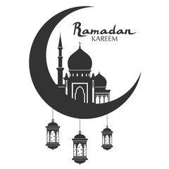 Ramadan Kareem Greeting Arabic Calligraphy With Mosque Moon And Lanterns Isolated Islam Black Flat
