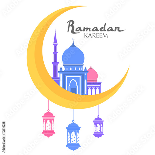 Muslim Mosque With Text Icon Arabic Masjit Islam Minarets Flat Logo Vector Cartoon Design Beautiful Temple
