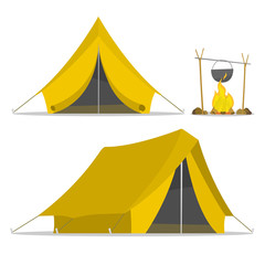 Yellow cartoon tent and set fire isolated. sports tourism in nature. Objects tents. Camping. The journey to the mountains and forests. Vector illustration. Summer rest.