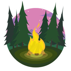 Cartoon bonfire on a dusk landscape of trees and mountains icon. sports tourism in nature. Camping. The journey to the mountains and forests. Vector illustration. Summer tourism.