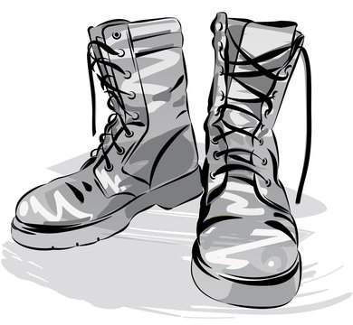 Military leather worn boots vector illustration