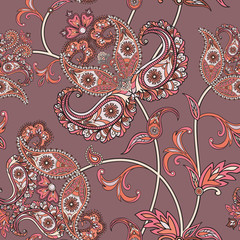 Flower swirl oriental pattern. Abstract floral geometric seamless oornament
